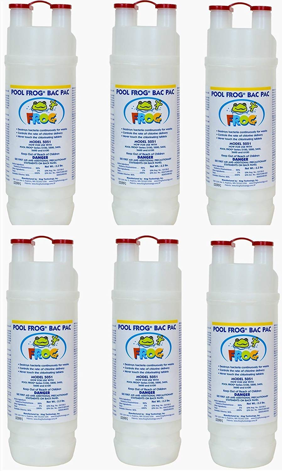 King Technology Pool Frog Mineral Purifier Replacement Chlorine Bac Pac - 6 Pack by King Technology