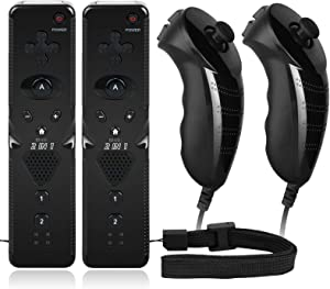 2 Sets Remote Nunchuck Controller Built-in Motion Plus Compatible with Nintendo Wii Wii U Console
