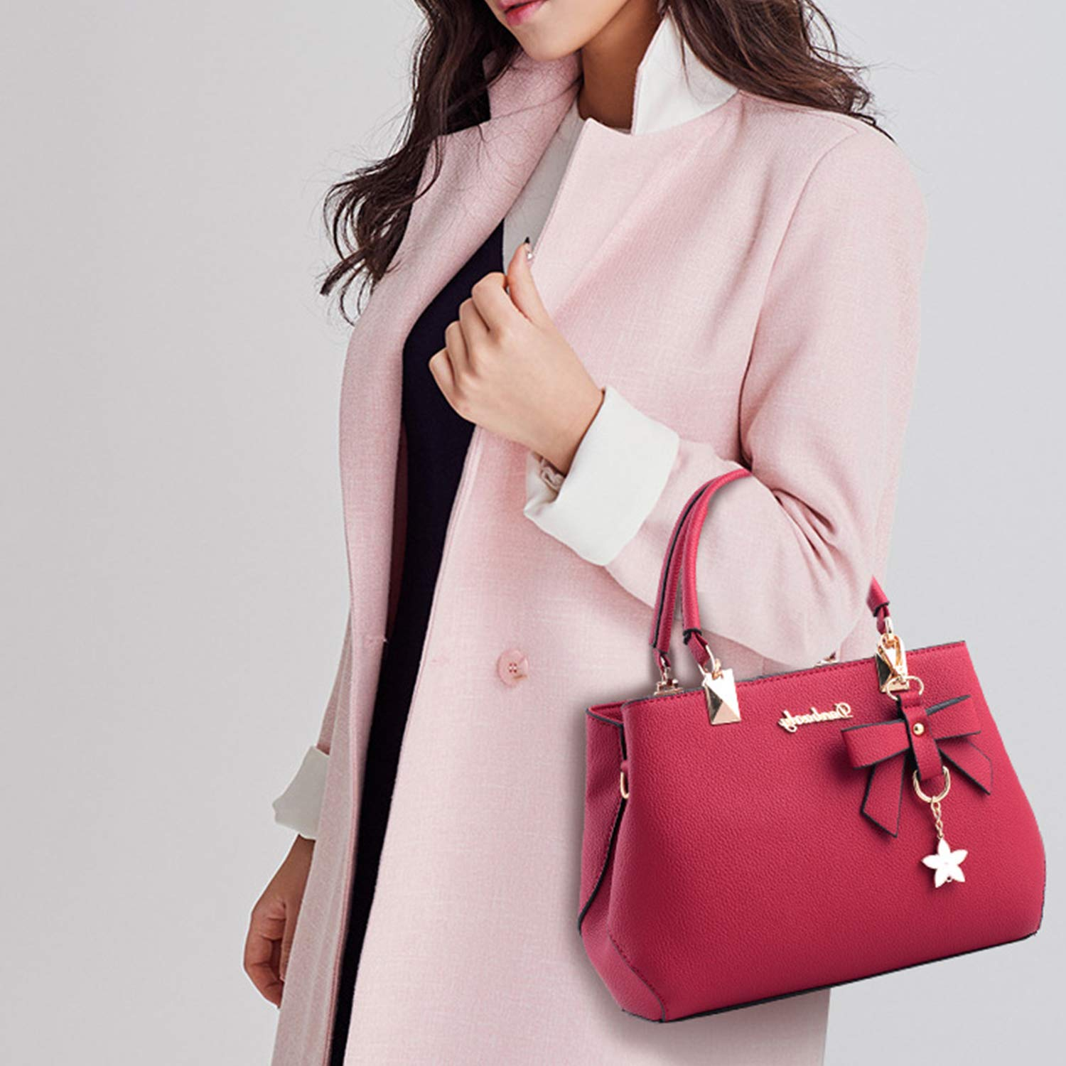 Fashion PU Leather Handbags Shoulder Bag Satchel with Adjustable Strap Women Crossbody Bags