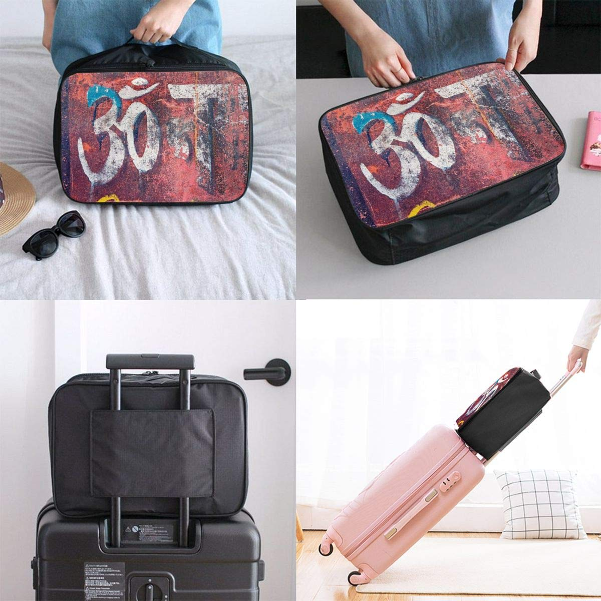 Vintage Red Graffiti Murals Travel Lightweight Waterproof Folding Storage Carry Luggage Duffle Tote Bag Large Capacity In Trolley Handle Bags 6x11x15 Inch