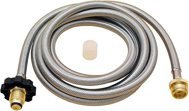 Propane Tank Gas Stove Hose Converter Replacement Parts for Coleman Camp Stove Buddy Heater,Weber Q Grill and More GASPRO 10FT Stainless Braided Propane Hose Adapter 1lb to 20lb