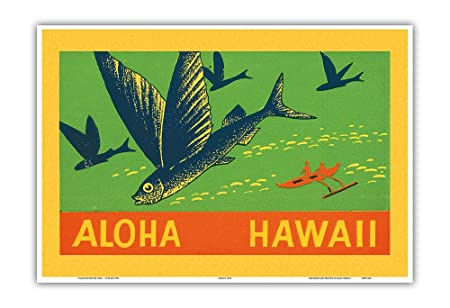 Pacifica Island Art Flying Fish-Aloha Hawaii-World Vintage c ...
