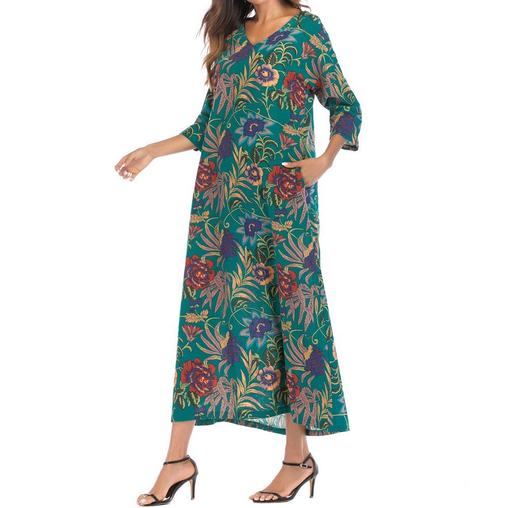 XJLUS-Apparel Dresses for Women Casual with Pockets 3/4 Sleeve Thin Cotton Loose Long Bohe Floral Kaftan Dress