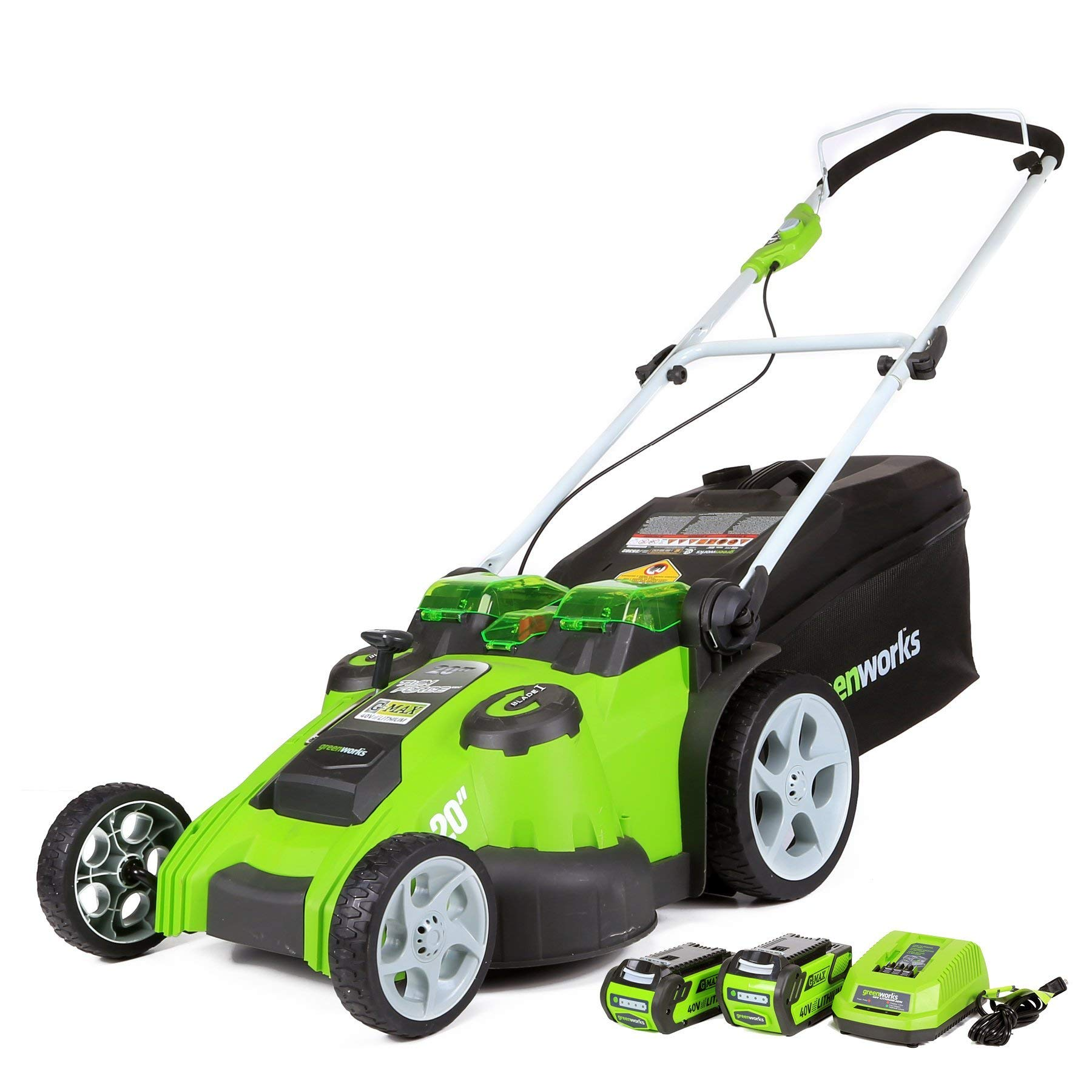 Greenworks 20-Inch 40V Twin Force Cordless Lawn Mower, 4.0 AH & 2.0 AH Batteries Included 25302 (Renewed) by Greenworks