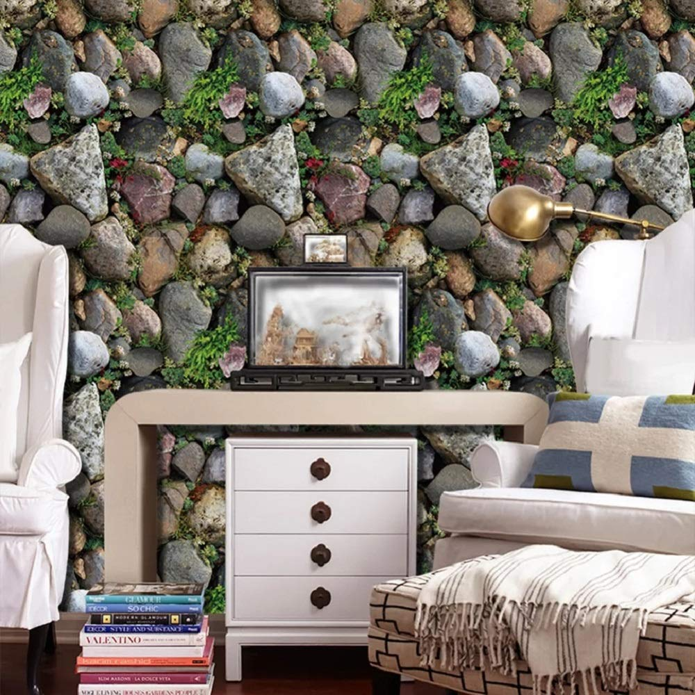Buy Univocean 3d Modern Stone Garden Wallpaper Wall Poster Wall Sticker Pvc Self Adhesive For Bedrooms Living Room Hall Play Room Garden Home Decoration Stickers 200 X 45 Cm Online At Low