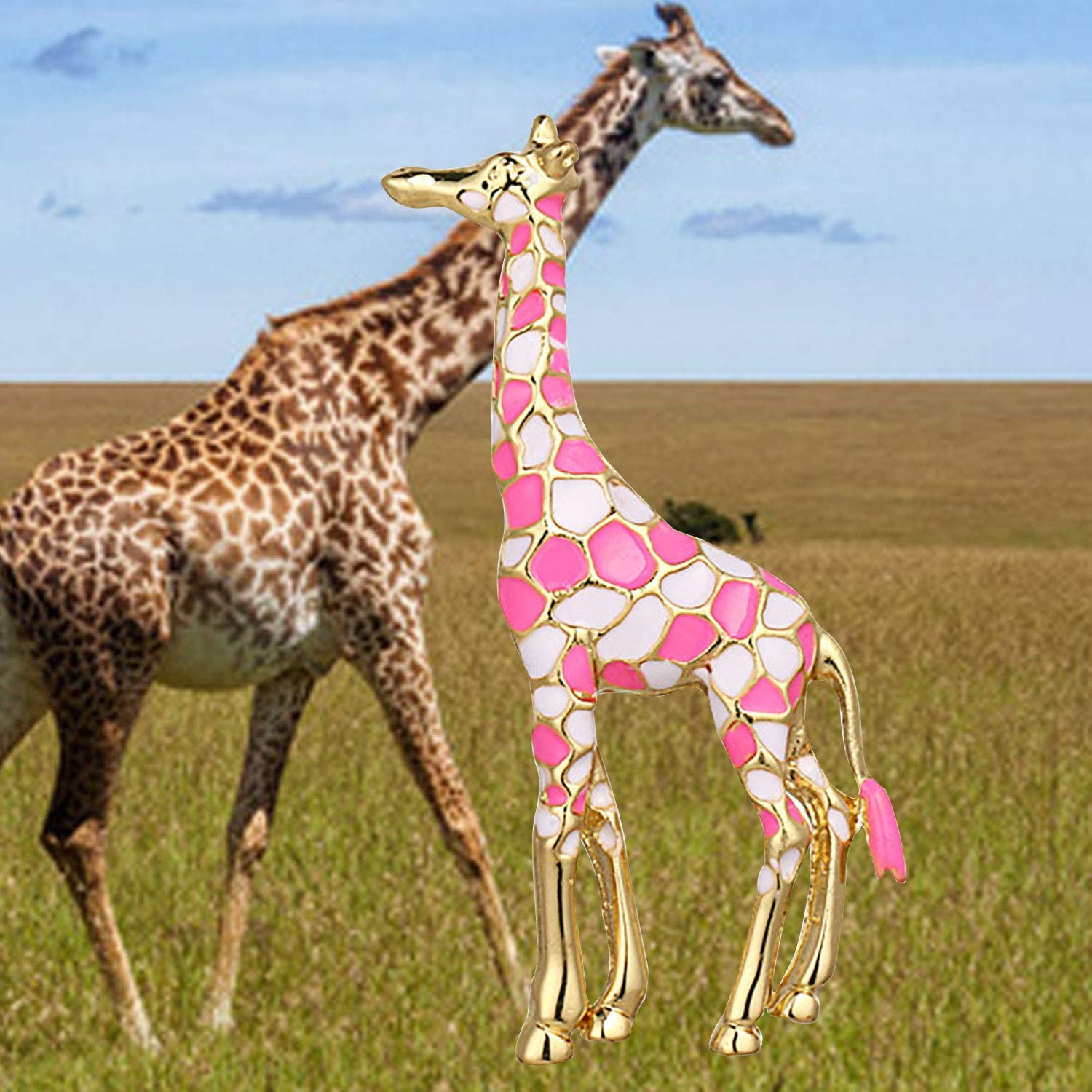 bobauna Colorful Enameled Giraffe Animal Brooch Pin Clothes Decoration Jewelry Gift for Women Girls