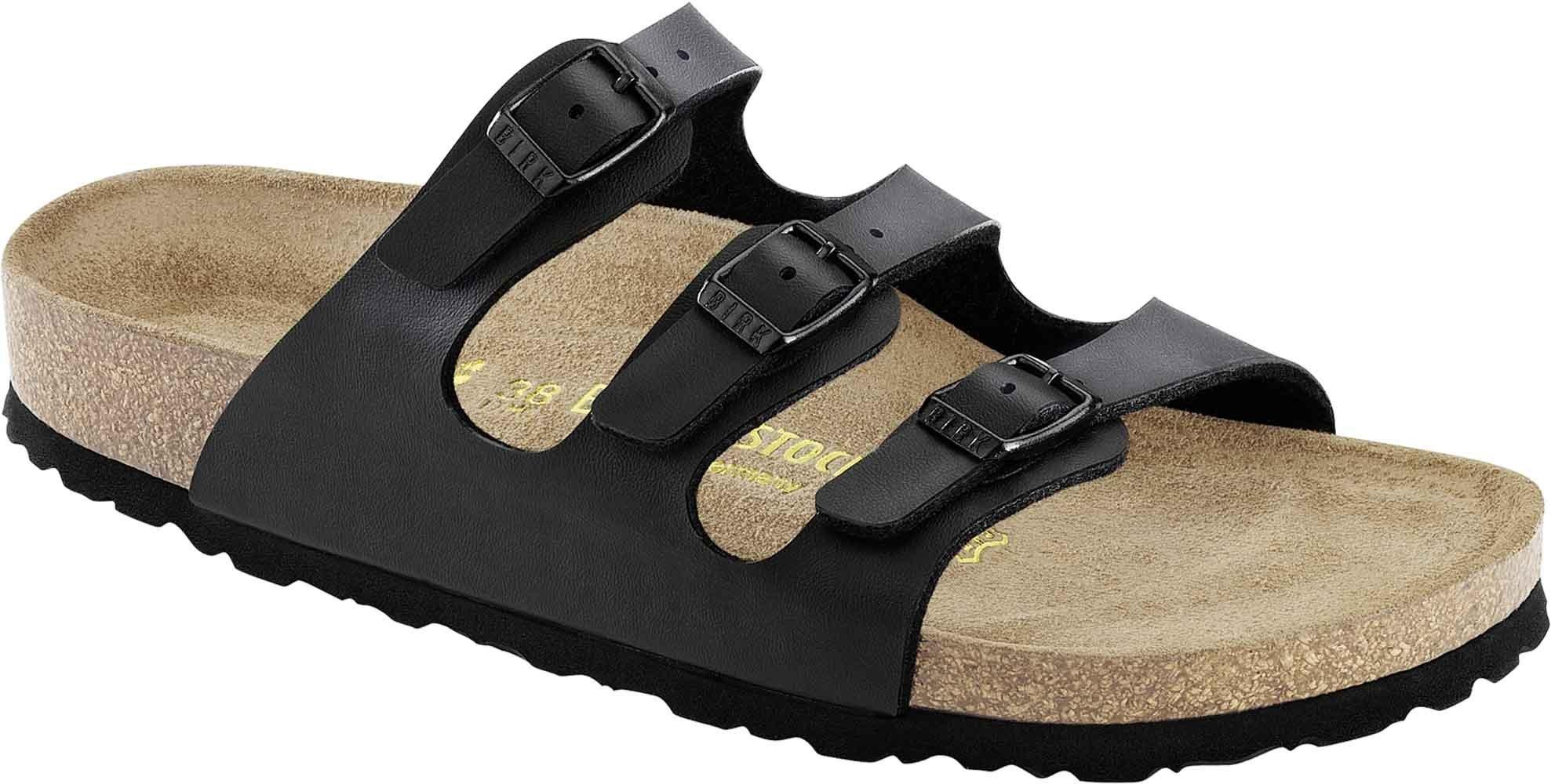 Birkenstock ''Florida'' Birko-flor Black Sandals Womens - Softfootbed - (40.0 R)
