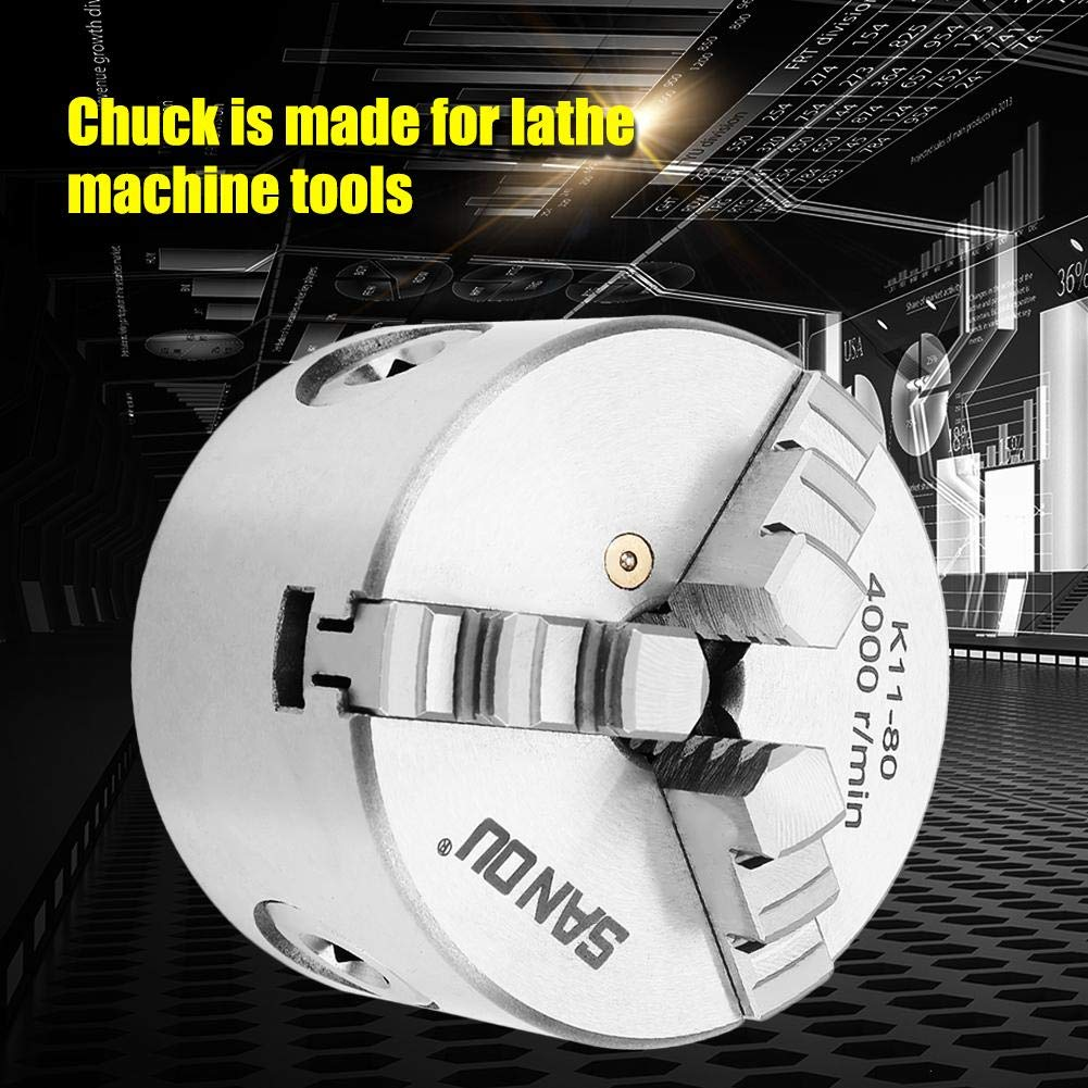 3.1 Woodworking Lathe 3-Jaw Chuck,Self-Centering 3-Jaw Chuck,High Centering Precision,Large Clamping Range,for Woodworking Lathe