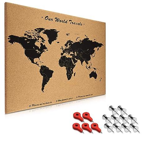 Navaris Cork Board World Map - 70 x 50 cm Push Pin Memo Corkboard in World  Map Design with 15x Push Pins for Kitchen, Classroom, Home Office, Bedroom