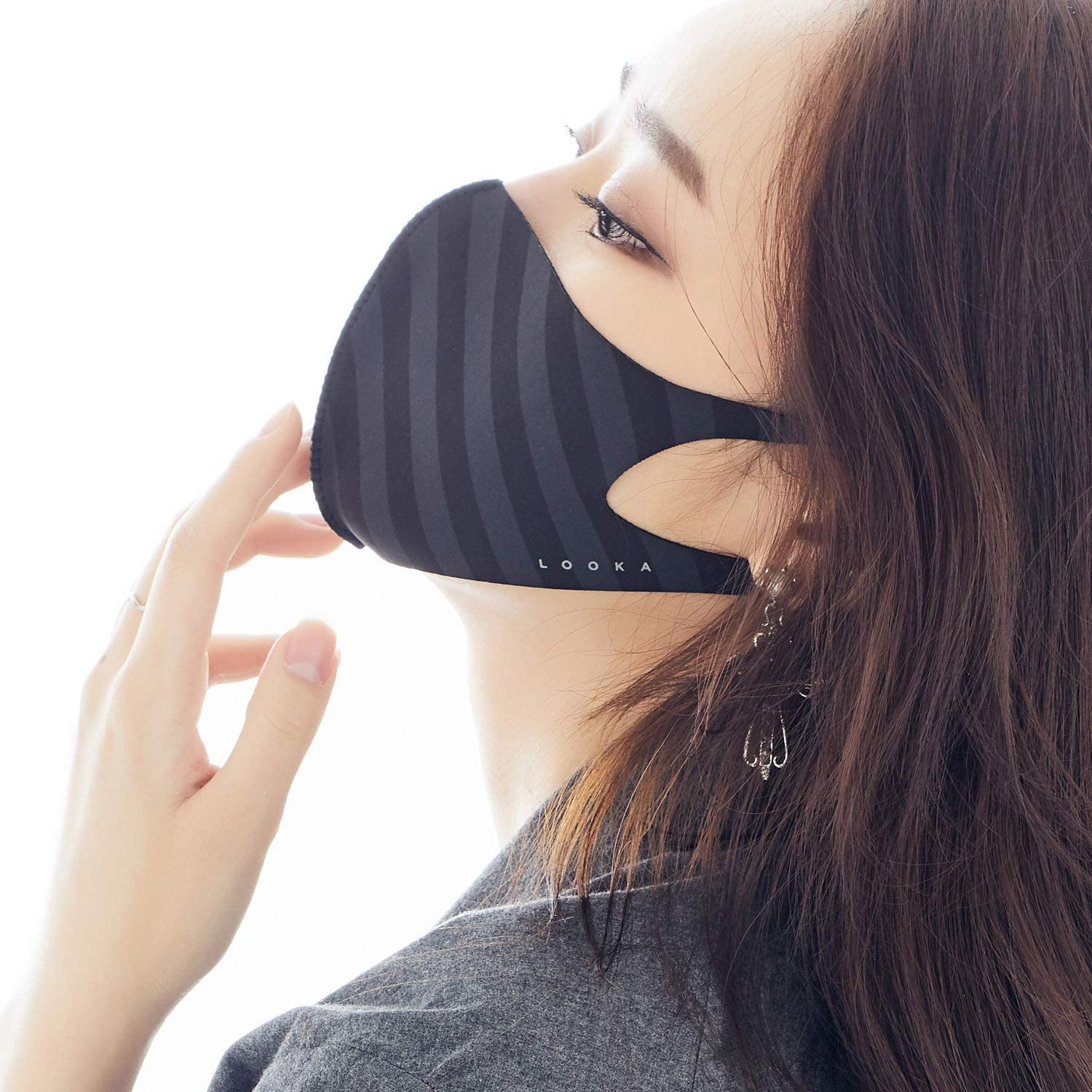 LOOKA MASK Protective Fashion Air Mask | High Quality | Washable and Reusable | Double Layered Face Mask | Modern Stripe Black X Grey (Medium)