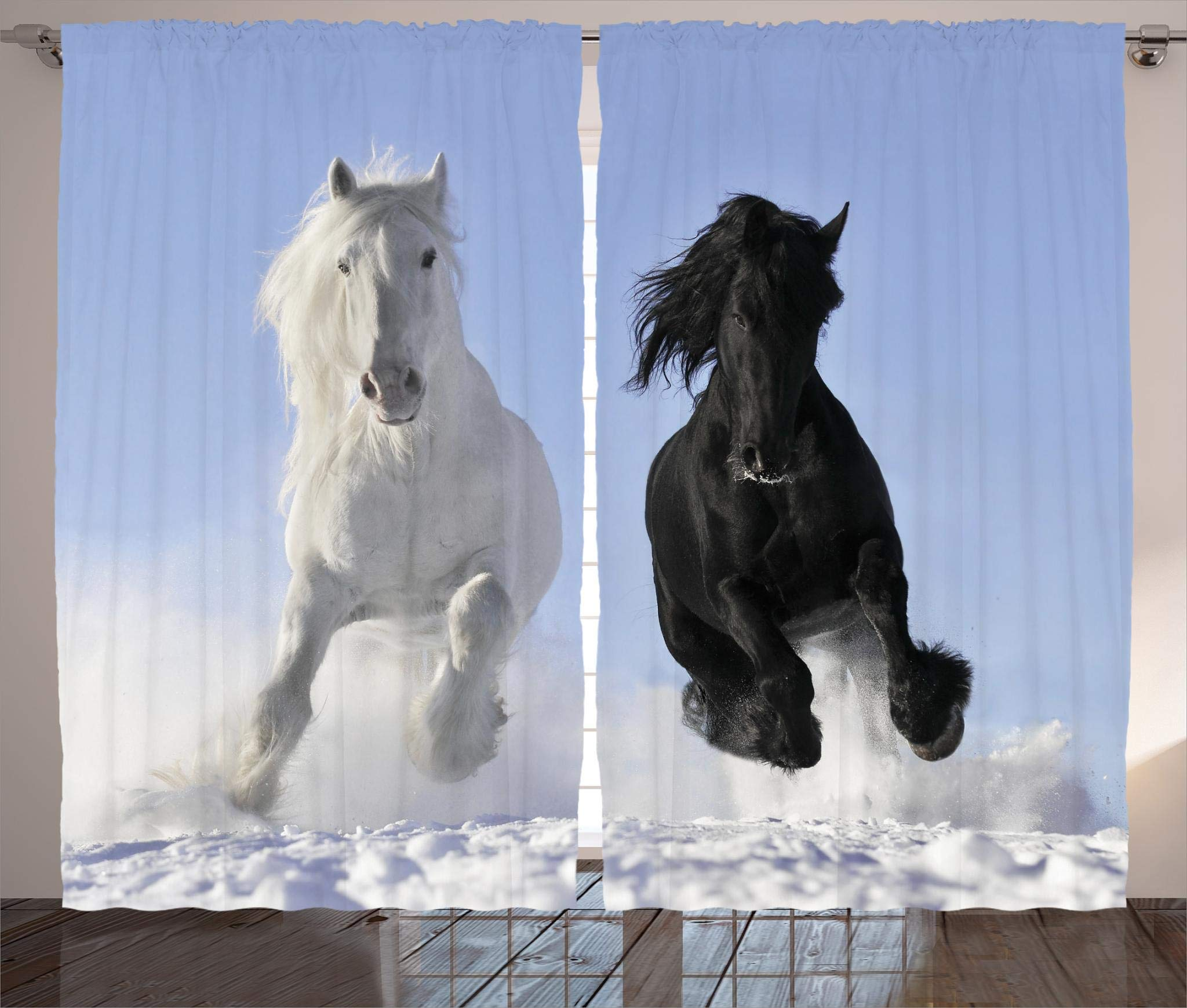 Ambesonne Animal Decor Collection, Competing Racing Black and White Horses on the Snow Good and Evil Mythical Symbolic Creatures, Living Room Bedroom Curtain 2 Panels Set, 108 X 84 Inches, Blue