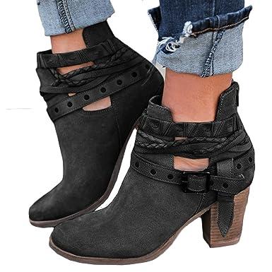 2c07984de6f7b7 SuperSU Mode Frauen Herbst Schuhe Party Hochzeit Sexy Niet Schnalle Heel  Stiefel Ankle Boot Retro Stiefel