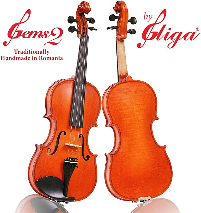 Student GEMS 2 Modelo, un violín Gliga hecho a mano en Rumanía, nivel de estudiante avanzado, barnizado a mano, con incrustaciones de mano de madera maciza tallada a mano, listo para jugar: