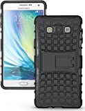 Heartly Flip Kick Stand Spider Hard Dual Rugged Armor Hybrid Bumper Back Case Cover For Samsung Galaxy A7 2015 SM-A700F - Rugged Black