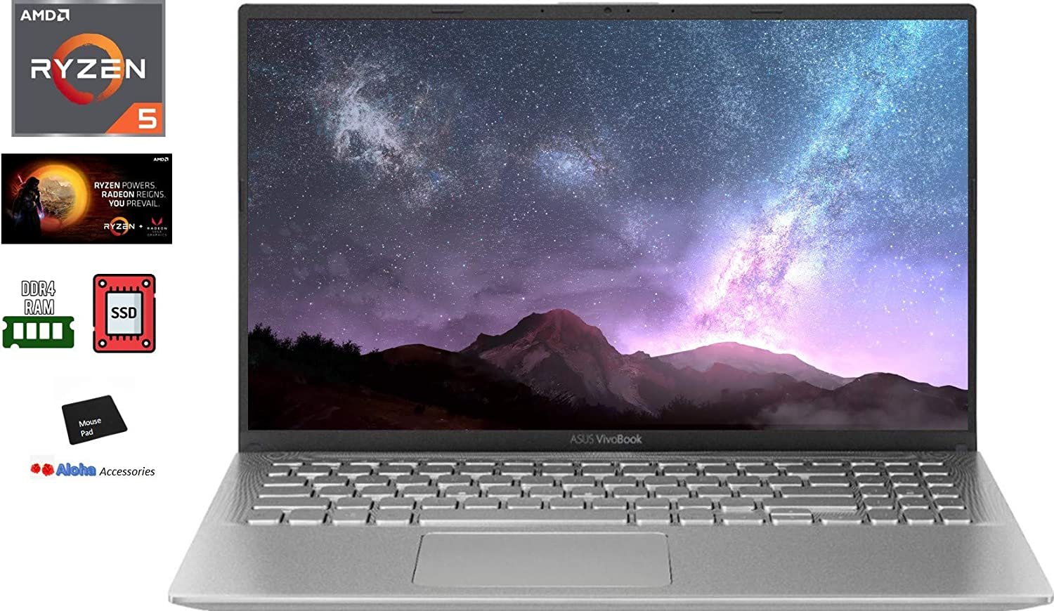 2020 ASUS VivoBook Ultra Thin and Lightweight 15.6'' Full HD Laptop Computer AMD Quad-Core Ryzen 5 3500U up to 3.7GHz 16GB DDR4 RAM 512GB PCIe SSD Radeon Vega Graphics Bluetooth Windows 10 Aloh Bundle