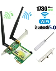 Gigabit WIFI Card, AC1730Mbps PCIe Wireless Card with Bluetooth 5.0, Dual-Band PCI-Express Network Card(2.4GHz 300Mbps+5GHz 1430Mbps), Wifi Adapter Card for Desktop PC, Supports Windows 10(WIE9260)