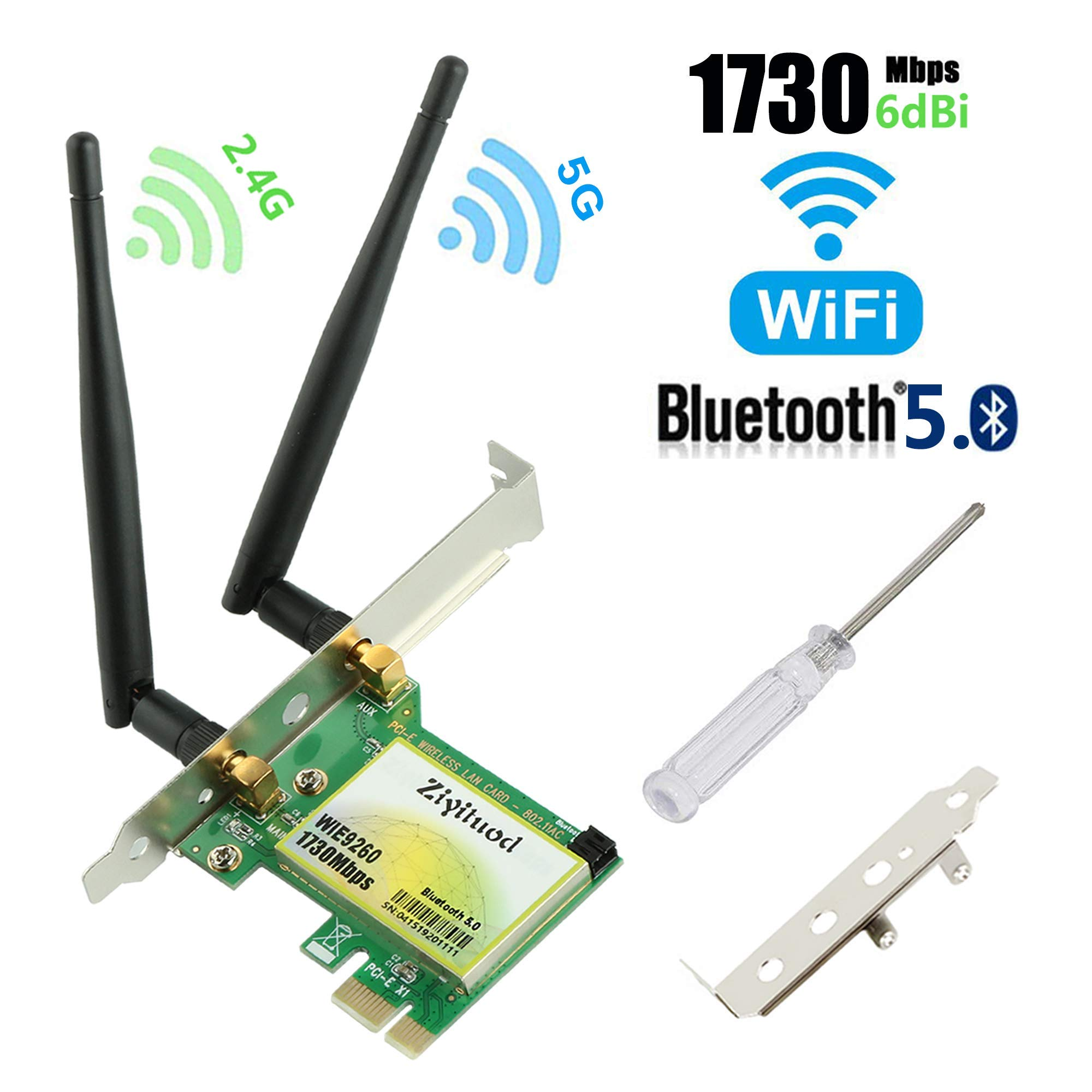 Gigabit WIFI Card, AC1730Mbps PCIe Wireless Card with Bluetooth 5.0, Dual-Band PCI-Express Network Card(2.4GHz 300Mbps+5GHz 1430Mbps), Wifi Adapter Card for Desktop PC, Supports Windows 10(WIE9260) by Ziyituod