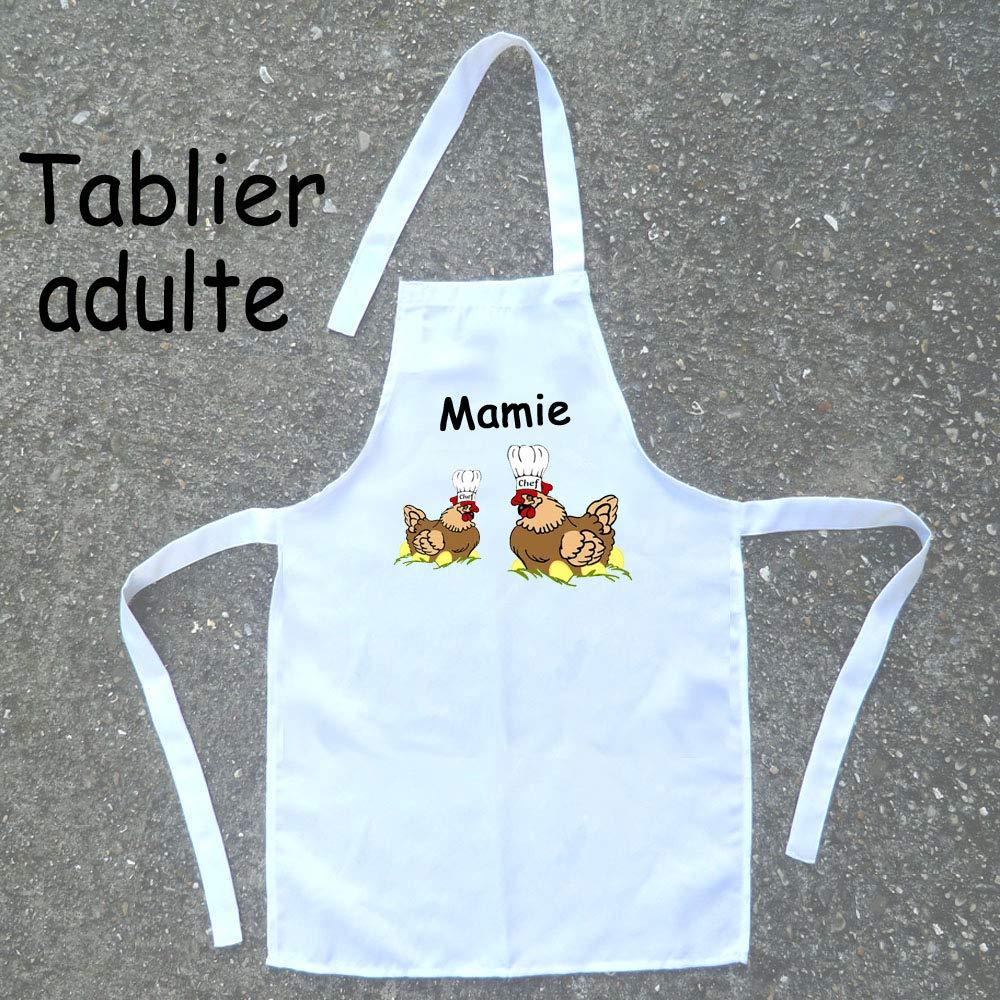 Texti-Cadeaux-Tablier cuisine adulte Poule à personnaliser Exemple: Mamie, Maman, Colette