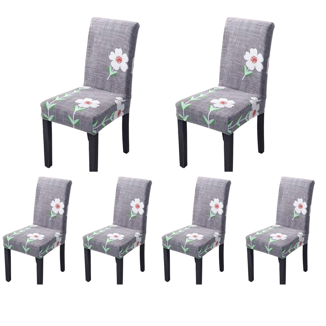 SoulFeel Stretch Spandex Dining Room Chair Protector Slipcovers, Set of 6 (Style 44, Daisy Flower) by SoulFeel