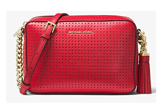 53f204544eae Image Unavailable. Image not available for. Color  MICHAEL KORS Ginny  Perforated Leather Crossbody Shoulder Bag