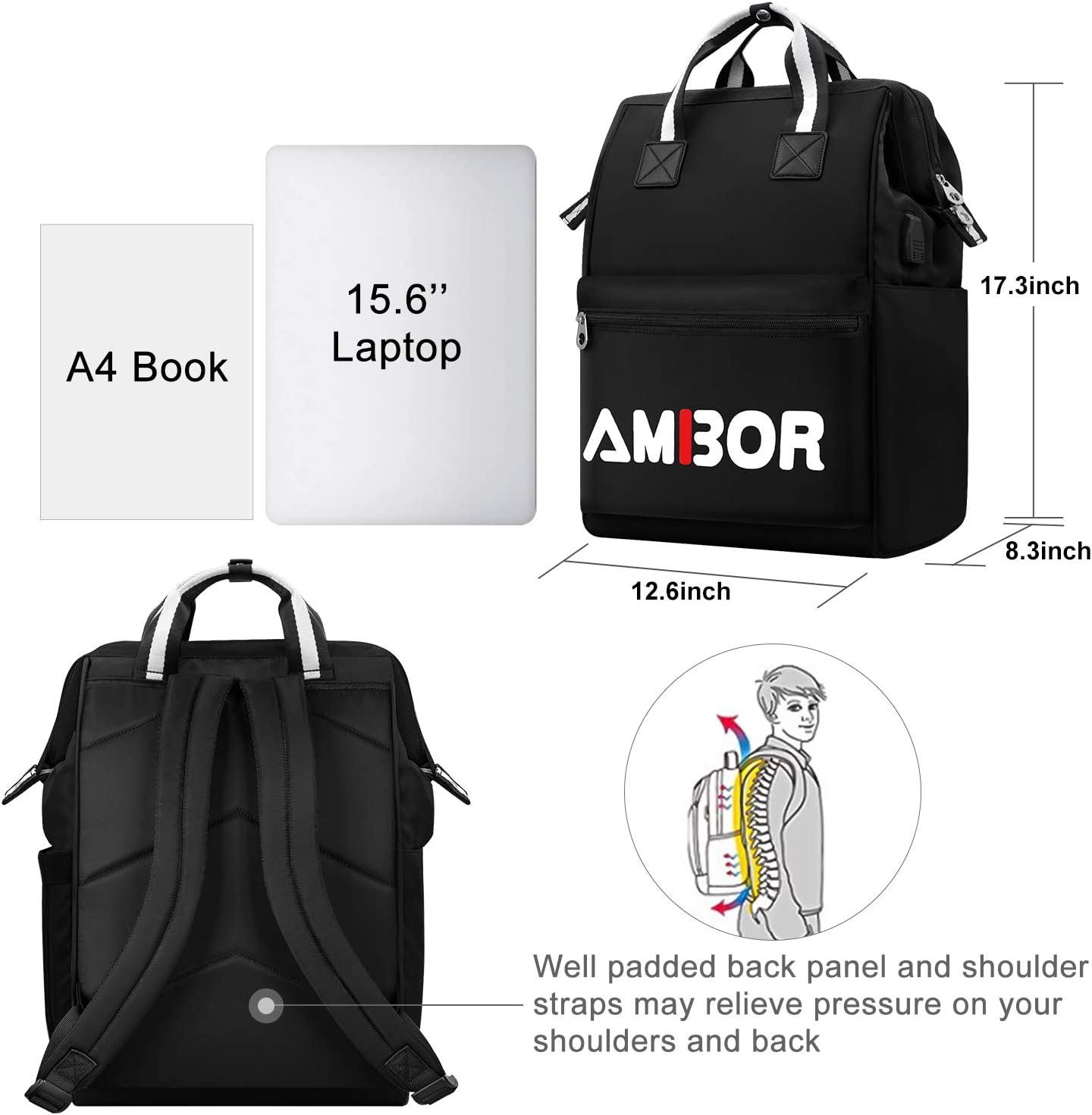 15.6 Inch High Capacity Computer Backpack College School Casual Daypack Laptop Bag Travel Laptop Backpack Water Resistant Business Travel Laptop Backpack with USB Charging Port for Women Men
