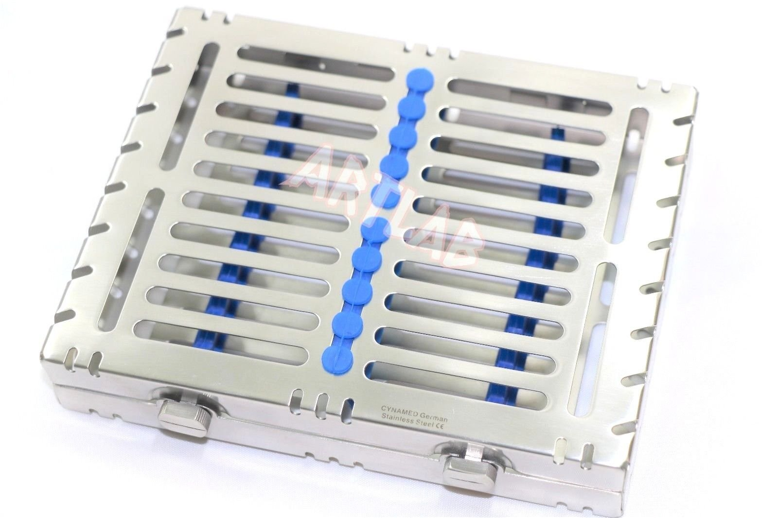 1 GERMAN DETACHABLE DENTAL AUTOCLAVE STERILIZATION CASSETTES RACKS BOX FOR 10 INSTRUMENTS BLUE ( CYNAMED ) by CYNAMED