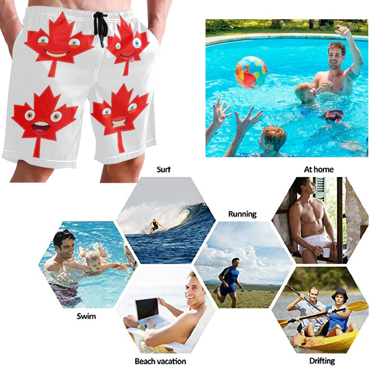 Mens Swim Trunks Canada Day Emojis Maple Emoticon Beach Board Shorts with Lining