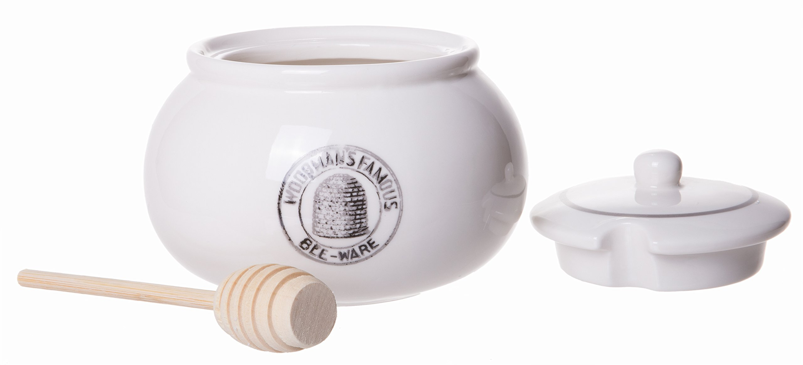 Classic Ceramic Stoneware Lidded Honey Jar with Wooden Dipper, White, 5-inch