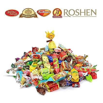 Gourmet Russian and Ukrainian Chocolate & Caramel Candy Assortment (Roshen, Slavyanka, Rot Front, Red October) 3 lbs