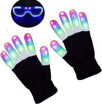 Christmas Children LED Glove 7 Lights Modes Finger Light Finger Party Glove Prop