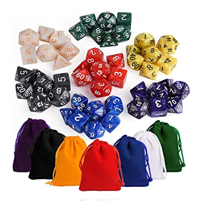 KUUQA 7 x7 (49 Pieces) Dice Sets 7 Colors Polyhedral Dice for Table Game Dungeons and Dragons DND MTG RPG D20 D12 D10 D8 D6 D4 7-Dice Complete Set with Colorful Pouches, Mixed Color: Toys & Games