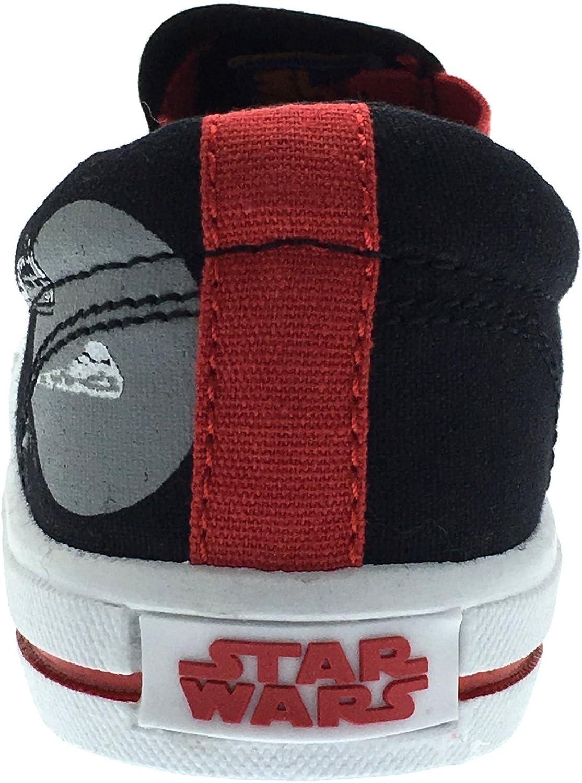 1 Disney gar/çons Star Wars sur Toile Chaussures Darth Vader Plat Slip on Pompes Enfants Taille UK 7
