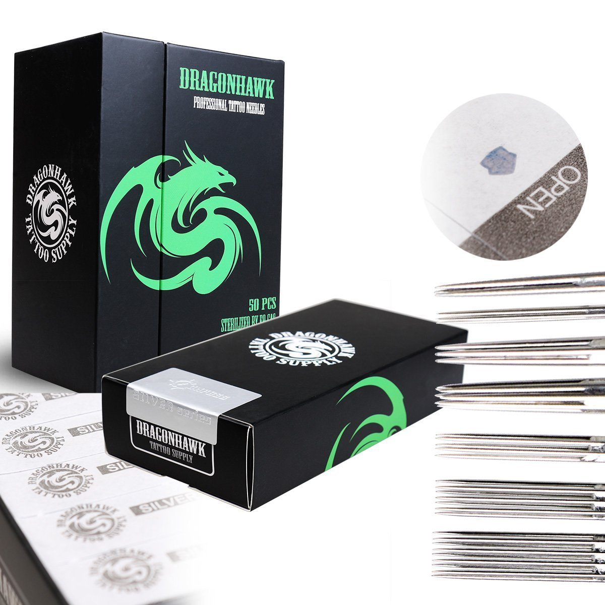 Dragonhawk Silver Series Tattoo Needles Assorted Liners and Shaders 50 Pcs Disposable & Sterilized Mixed Size Tattooing Needle Box YBZ
