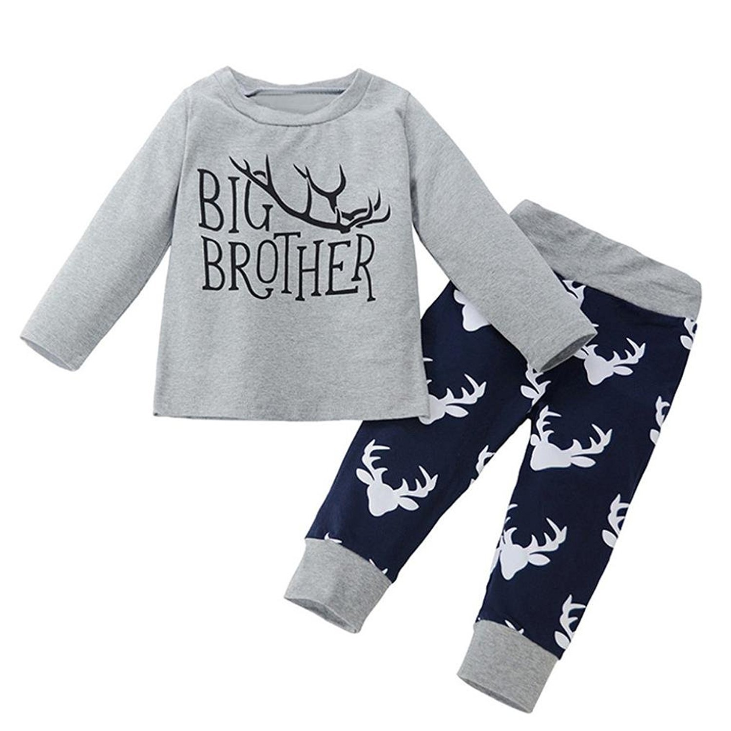 Webla Toddler Baby Boys Deer Print Clothes Set Letter Big Brother T-shirt +Trousers Set for 1-4 Years Old