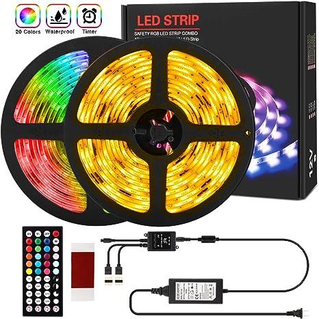 10M 15M 32.8FT 600LED 3528 RGB SMD Strip Light Remote Controller Adapter 12V Kit