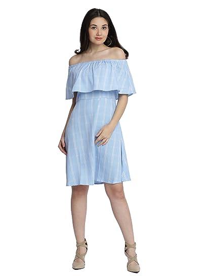 Miss Chase Women s Light Blue Off-Shoulder Checkered Dress(MCAW17D09-88-163 4be3e6b95