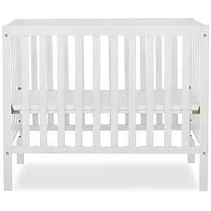 Dream On Me Edgewood 4-in-1 Convertible Mini Crib in White, 634-WHT