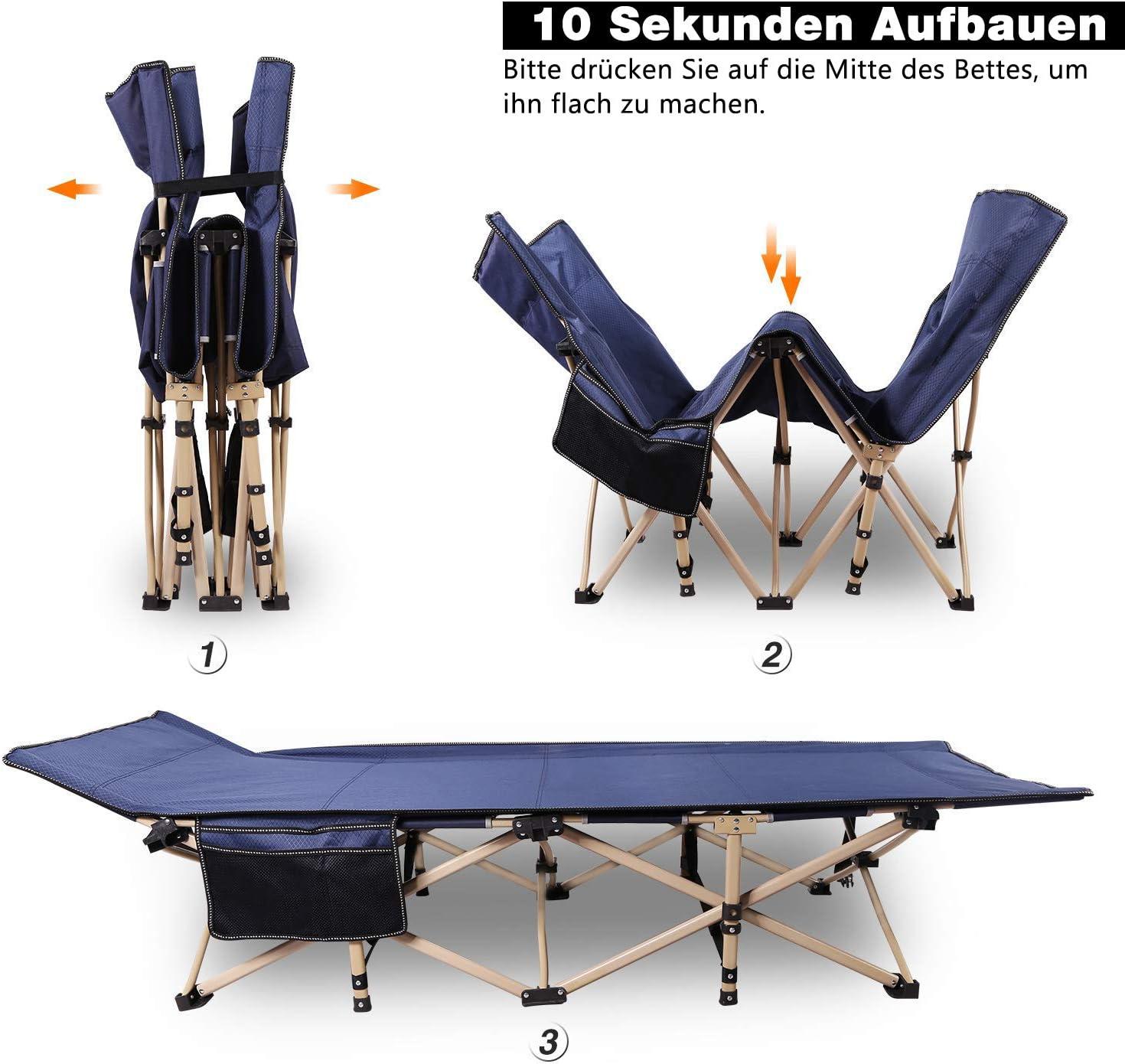 Charge Max 226kg avec Structure en Acier REDCAMP Lit de Camp Pliable Lit Pliant pour Camping et Jardin 190x71x38cm