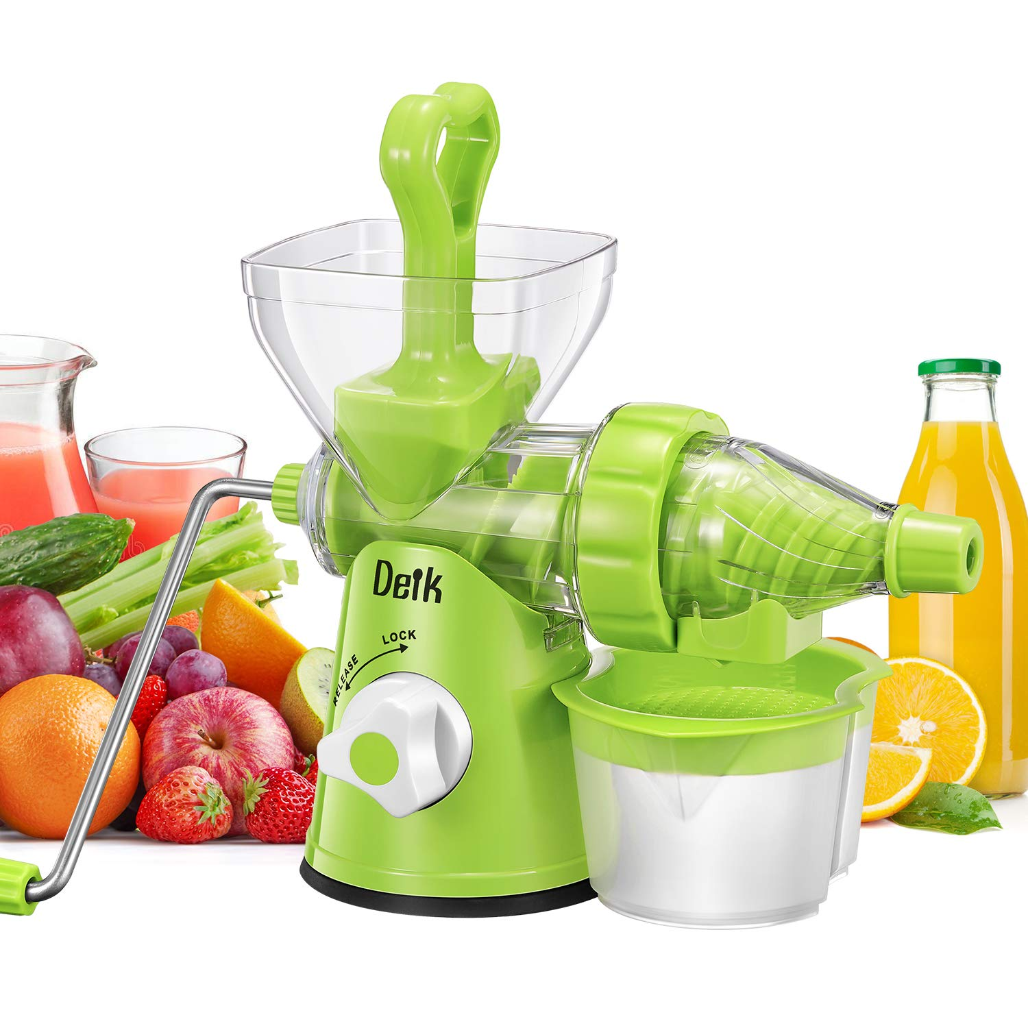 DEIK Manual Juicer, Juicer Machine for Maximum Nutrition Value, Hand Cold Press Original Healthy Juicer for Fruits and Vegetables by Deik