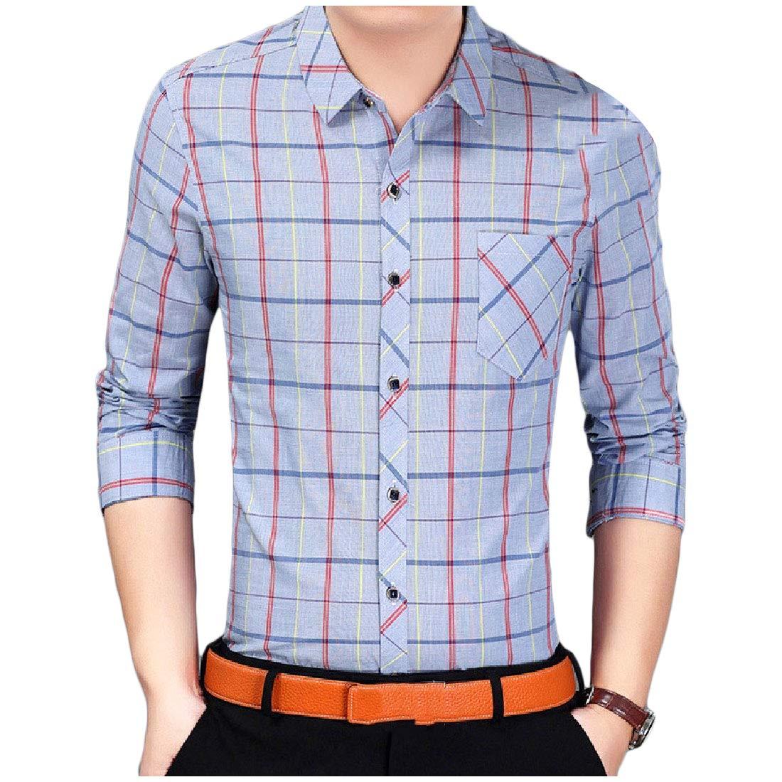 YUNY Mens Classic Plaid Winter Thick Casual Flat Collar Long Sleeve Shirt Blue S