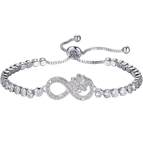 925 Sterling Silber  quot Infinity Love quot  Armband - Gesame Damen  elegante Figur 8 Symbol fda38de5e7