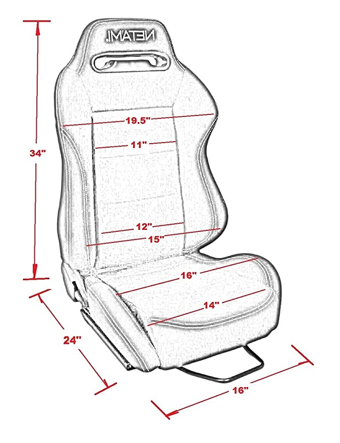 Netami Nt 2915 Fully Reclinable Type R Racing Seat Red Cloth A Pair