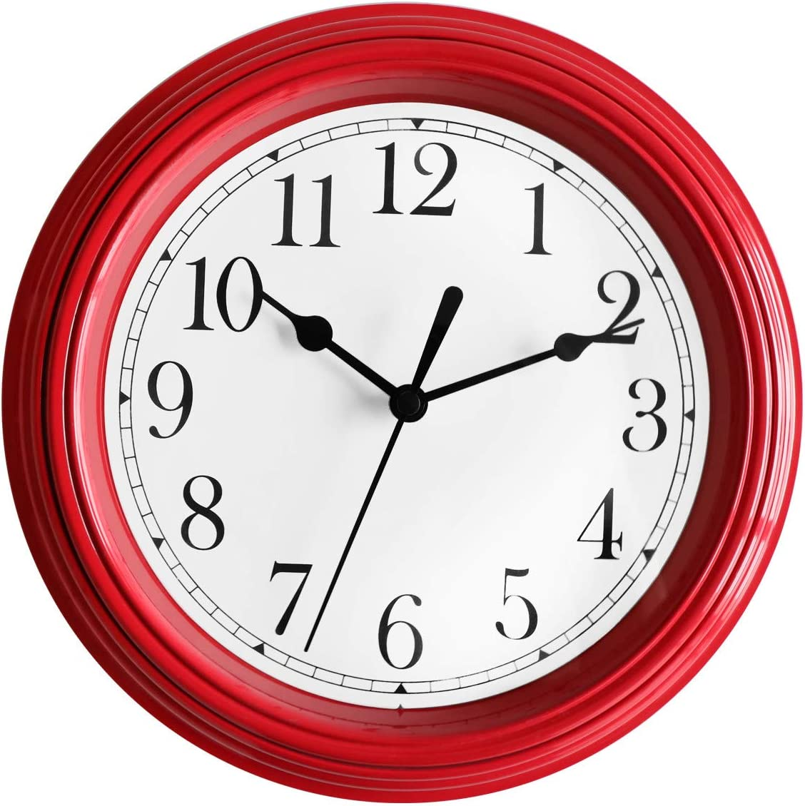 Foxtop Red Wall Clock 9 Inch Round Silent Non-Ticking Battery Operated Quality Quartz Quiet Easy to Read Clock for Kitchen