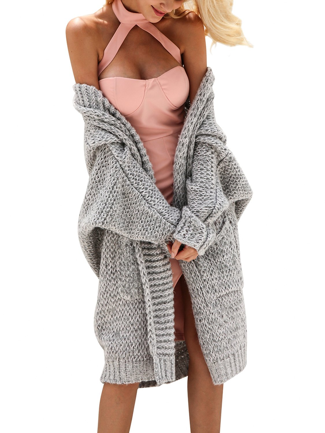 Glamaker Women's Casual Open Front Long Cardigan Knit Sweater with Long Sleeves GTP00508A0