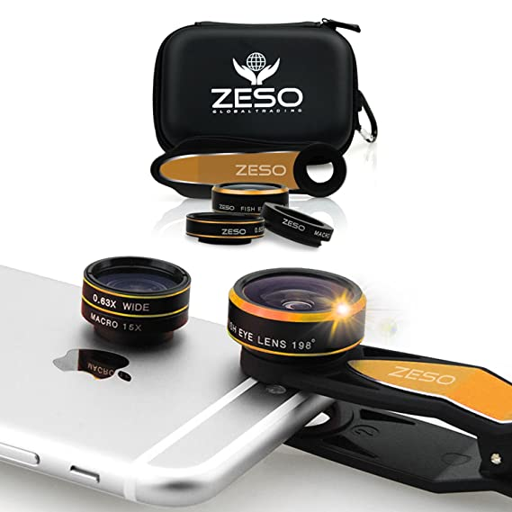 Review Cell Phone Camera Lens 3 In 1 Kit by Zeso | Professional Fisheye, Macro & Wide Angle Lenses | For iPhone, Samsung Galaxy, Android, iPads, Tablets | Universal Phone Clip & Hard Storage Case | 4 Colors