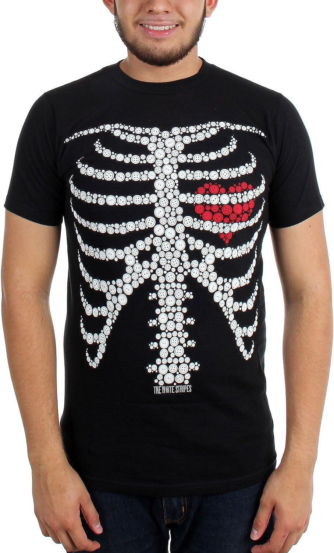 The White Stripes - Mens Button Skeleton T-Shirt