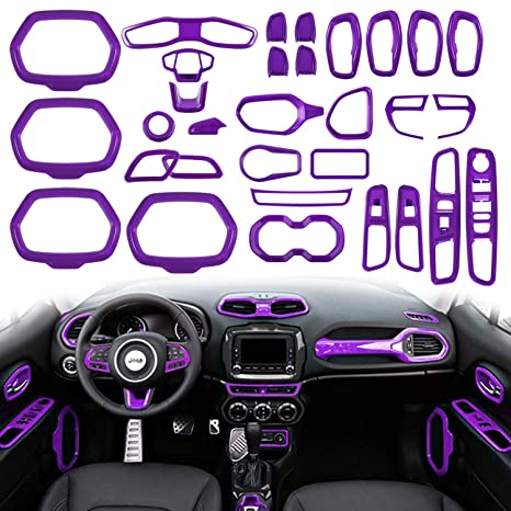 Car Interior Parts >> Opall 31 Pcs Abs Interior Parts Decoration Door Sound Speaker Audio Ring Dashboard Air Vent Frame Outlet Steering Wheel Buttons Door Cover For Jeep