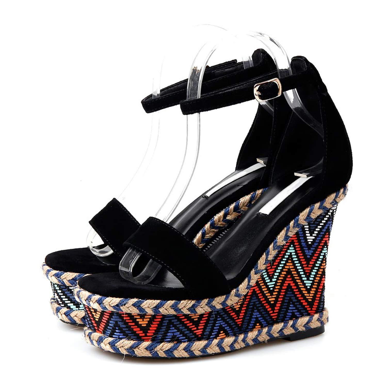 Black Merry-Heart Women Juiciest Buckle Strap Wedges Heeled Sandal High Heels Summer,