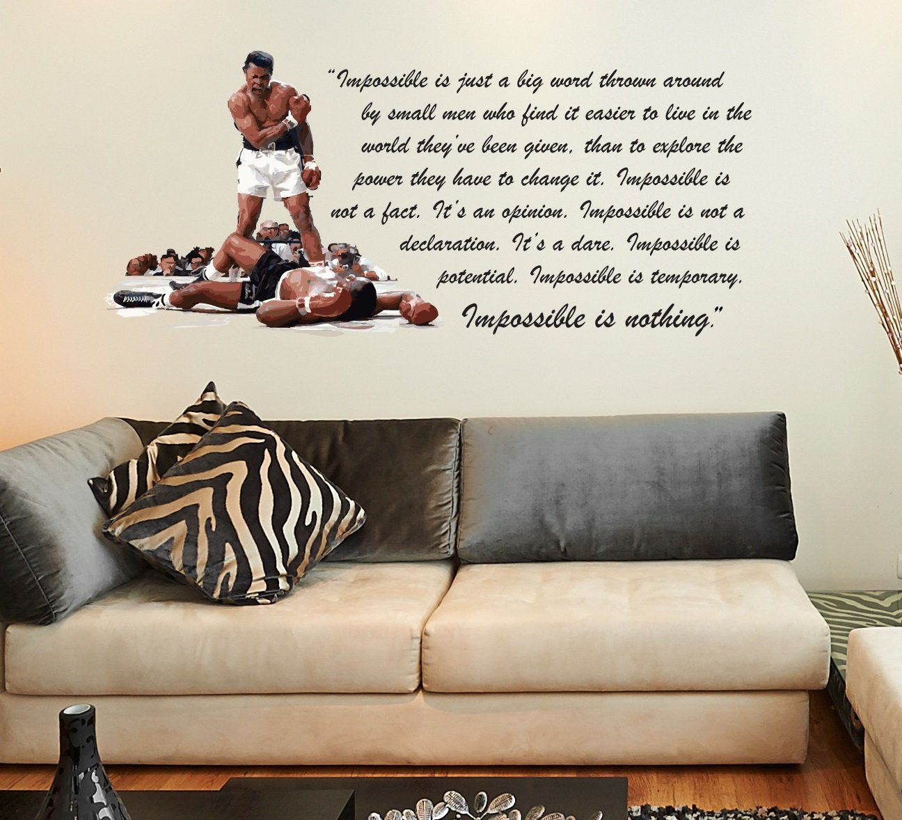 wall stickers quotes for hallways muhummad ali inspirational quote nothing is impossible boxing legend lounge living room hallway bedroom kitchen dining room wall sticker wall decal wall art