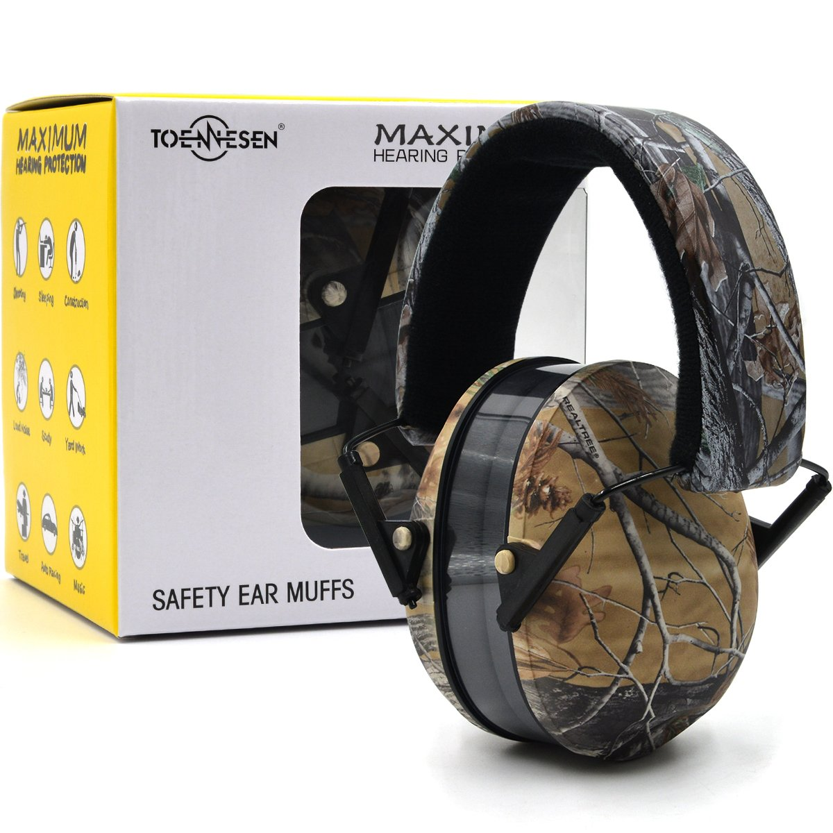 Toennesen Shooting Range Noise Reduction Ear Muffs Adjustable Hearing Protection Padded Sponge Earcups Noise Cancelling Earphones Safety Ear Defenders Fits Adults to Kids Camo Flannel
